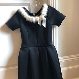 Zoe ltd black dress with white fur trim